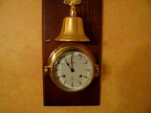 Captain S Key Wound Ship S Bell Clock Mounted Youtube