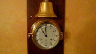 Captain's Key Wound Ship's Bell Clock - Mounted