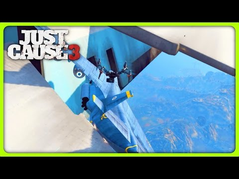 JUST CAUSE 3 FREE ROAM - CARGOPLANE FROM AN AIRSHIP (Just Cause 3 Funny Moments)