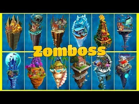 Every Zombot Fight! Plants vs Zombies 2 Mod Max Level Plants  Power Up vs All Zomboss