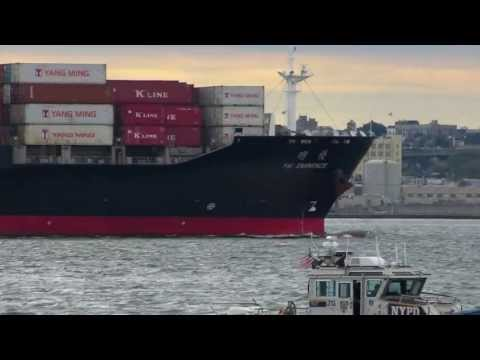 Container ships and tankers in New York Harbor 2013