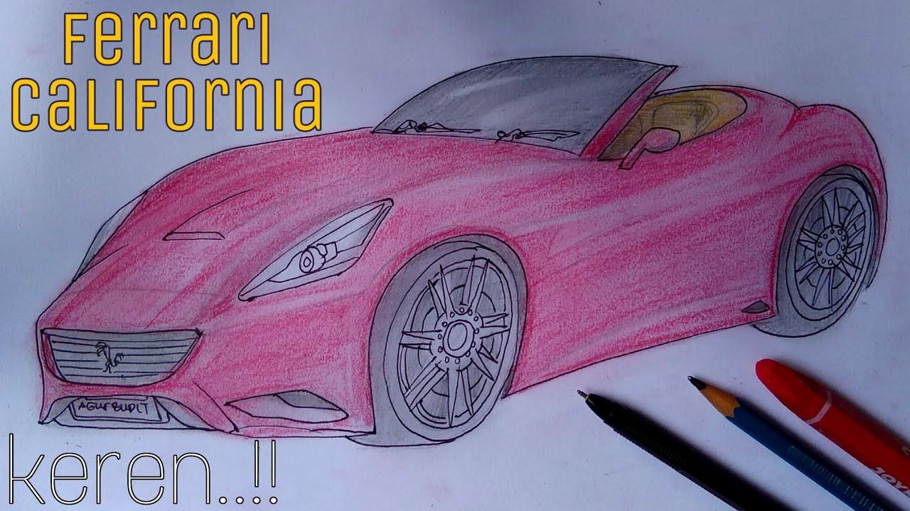 Menggambar Mobil Ferrari California How To Drawing And Coloring Ferrari California Simpel Sketch Youtube