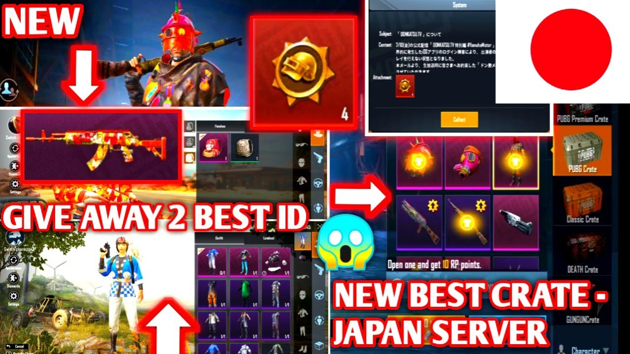 SPECIAL GIVE AWAY ID!! NEW FREE DONKATSU | JAPAN SERVER & BEST PUBG CRATE EVER  |  PUBG KOREA MOBILE