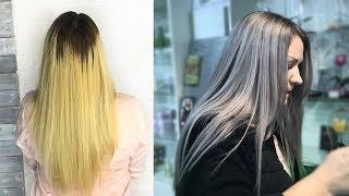 Окрашивание волос в серый цвет. Как почистить базу. ASH BLONDE SILVER HAIR. Колористика ОНЛАЙН.