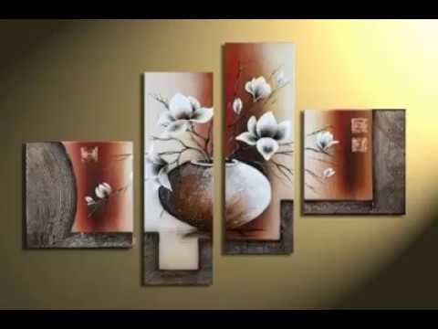 4-Piece Elegant Flowers Stretched and Framed Hand-Painted Modern Canvas Wall Art