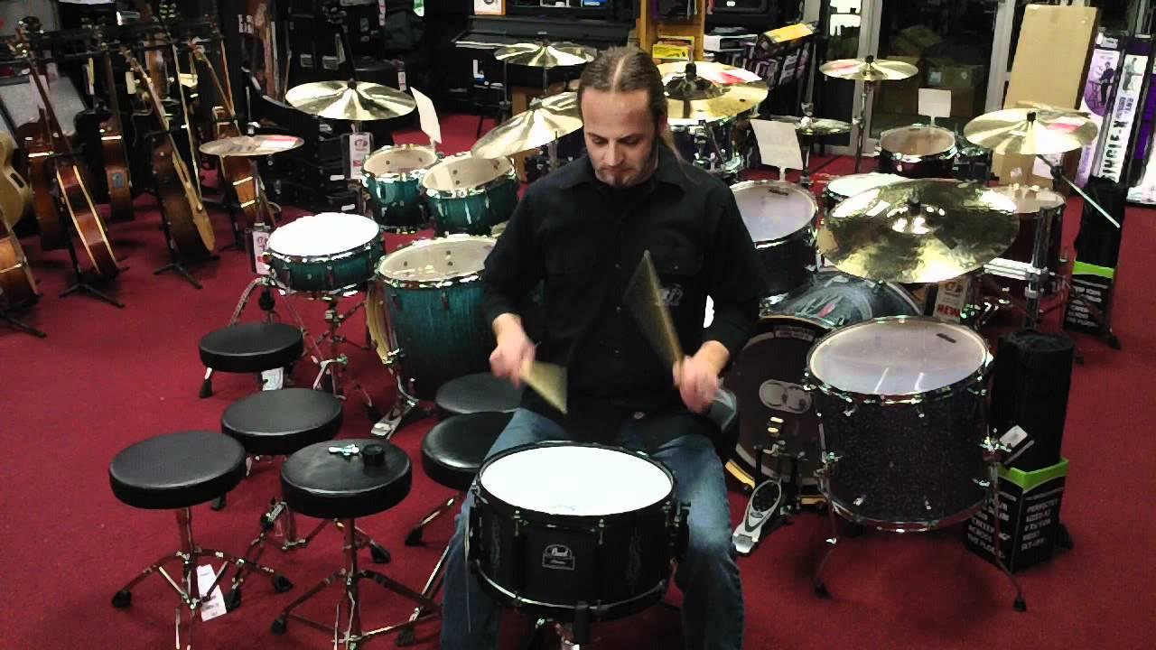 pearl joey jordison signature snare drum demo at tjs music