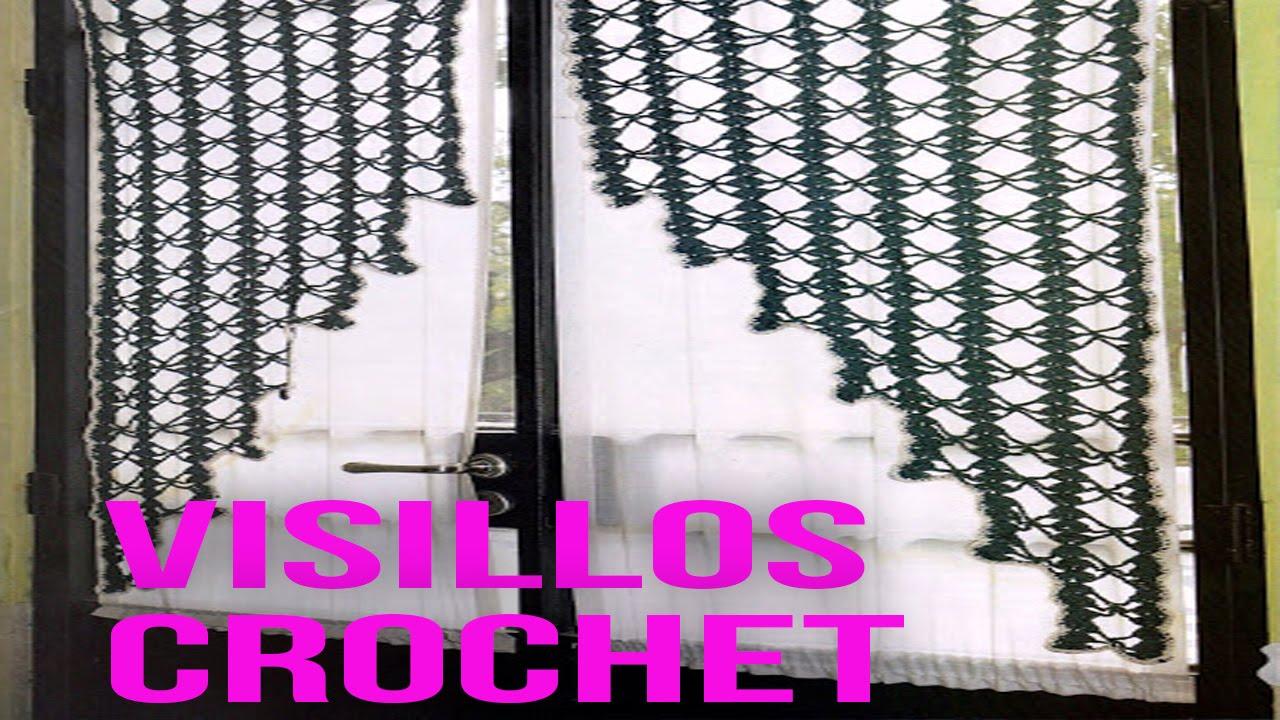 Visillos Tejidos a Crochet Para Ventanas Diseos  YouTube