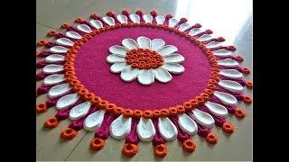 Beautiful Rangoli Designs Using Spoon  Easy Rangoli by Shital Mahajan.