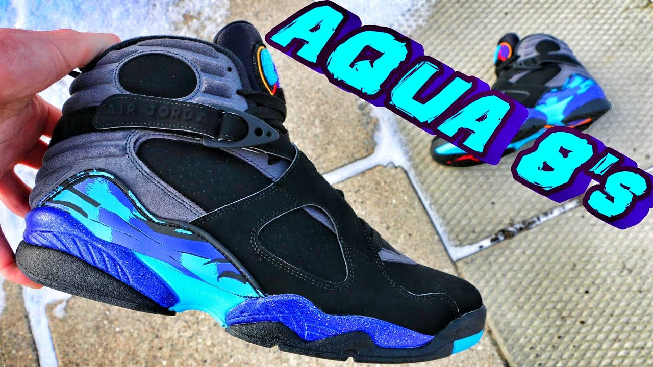 a843b6b47 Air Jordan Retro 8 Aqua - Review + On Foot - YouTube