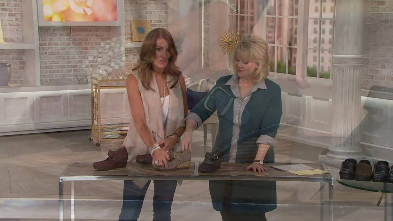 9f35cde71d1b Dansko Suede Wedge Mary Janes - Sandra on QVC - YouTube