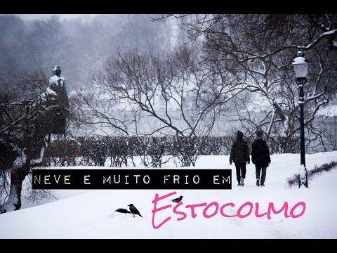 Neve e muito frio em Estocolmo