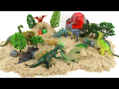 Dinosaur Volcano Eruption Sand Play - 공룡 화산폭발 서프라이즈 공룡알 모래놀이 장난감 игрушки - Learn Names Of Dinosaurs