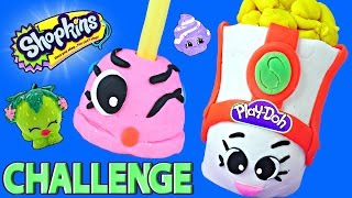 shopkins challenge making play doh peta plunger and poppy corn dctc surprise shopkin toys