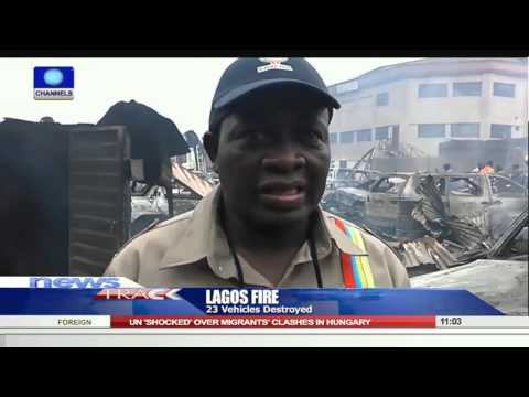 Inferno Destroys 23 Vehicles At Lagos Mechanic Village 18/09/15