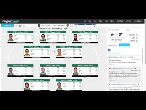 FantasyLabs NHL Team Lines and Goalies