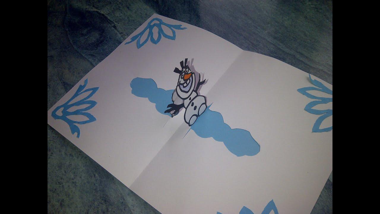 Basteln Lernen 3d Pop Up Weihnachtskarte Mit Olaf Von Der Eiskönigin Frozen