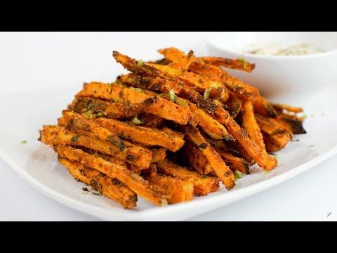 Healthy Baked Sweet Potato Fries with Greek Yogurt dip