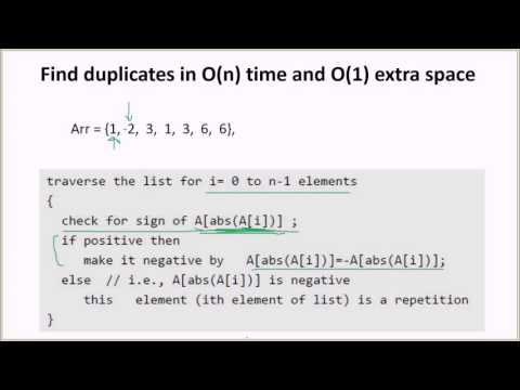 Find duplicates in O(n) time and O(1) extra space | Set 1