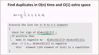 Find duplicates in O(n) time and O(1) extra space | GeeksforGeeks