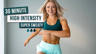 Day 24 - 30 MIN SUPER SWEATY HIIT WORKOUT - Full Body, No Equipment, No Repeat
