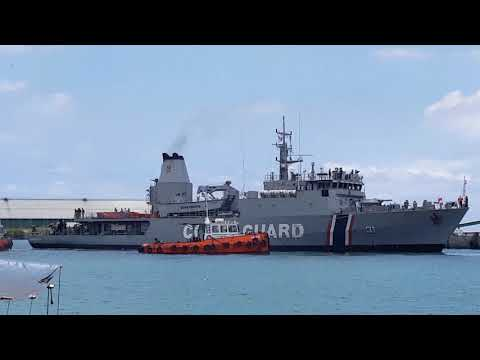 CGS Barracuda (CG31) leaving Port Louis Harbour for St Brandon & Agalega