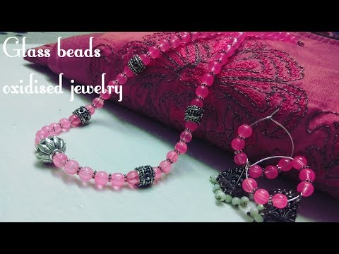 Latest Glass beads Oxidized necklace and earrings || periwinkle TV