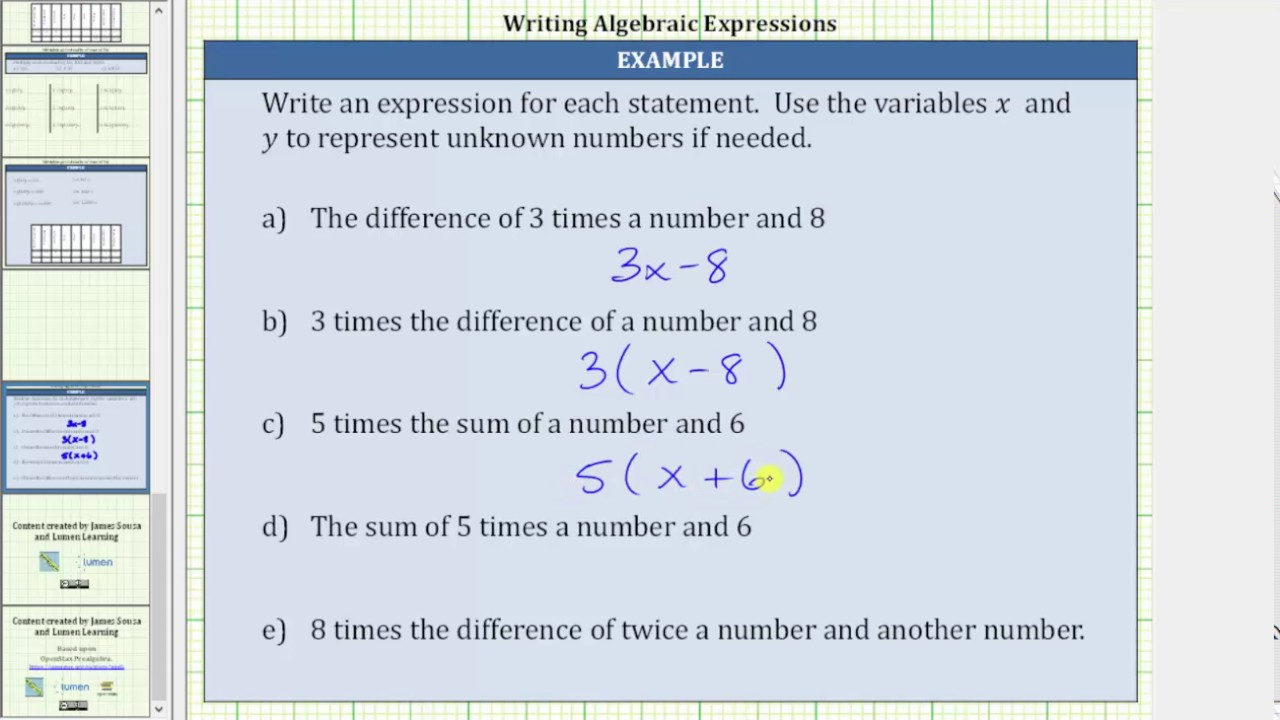 writing algebraic expressions from word problems