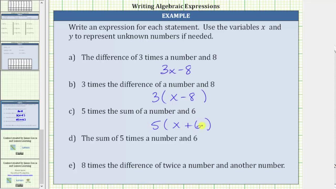 Translating Algebraic Expressions From Words  Prealgebra