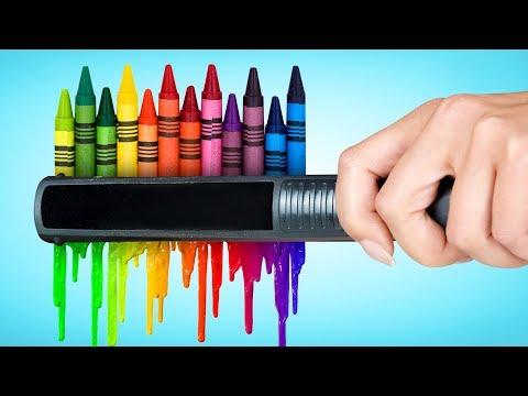 Цветные поделки для декора комнаты и хитрости с восковыми мелками