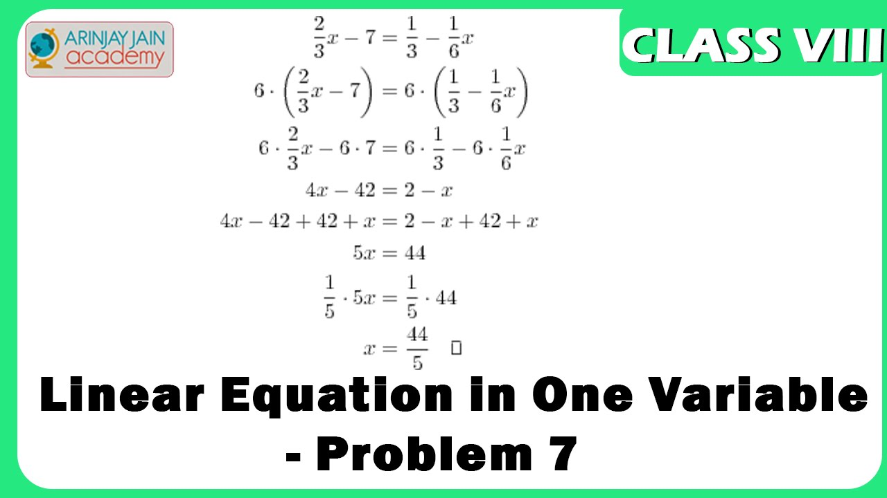 Linear Equation in One Variable - Problem 7 - Equation - Maths ...