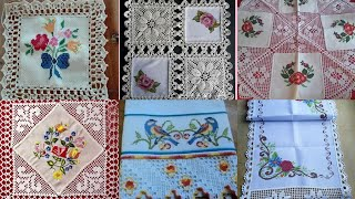 Beautiful And Amazing hand crochet Cross Stitch patterns for table cloth// qureshiya table covers