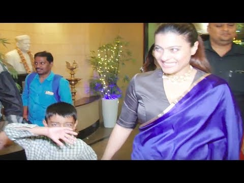 Kajol's son Yug HIDES HIS FACE while mom happily poses   Video