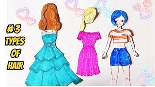 Thiết kế 3 KIỂU TÓC cho BÚP BÊ 💖 giấy Hana - 3 Types of Hair for Papper Doll