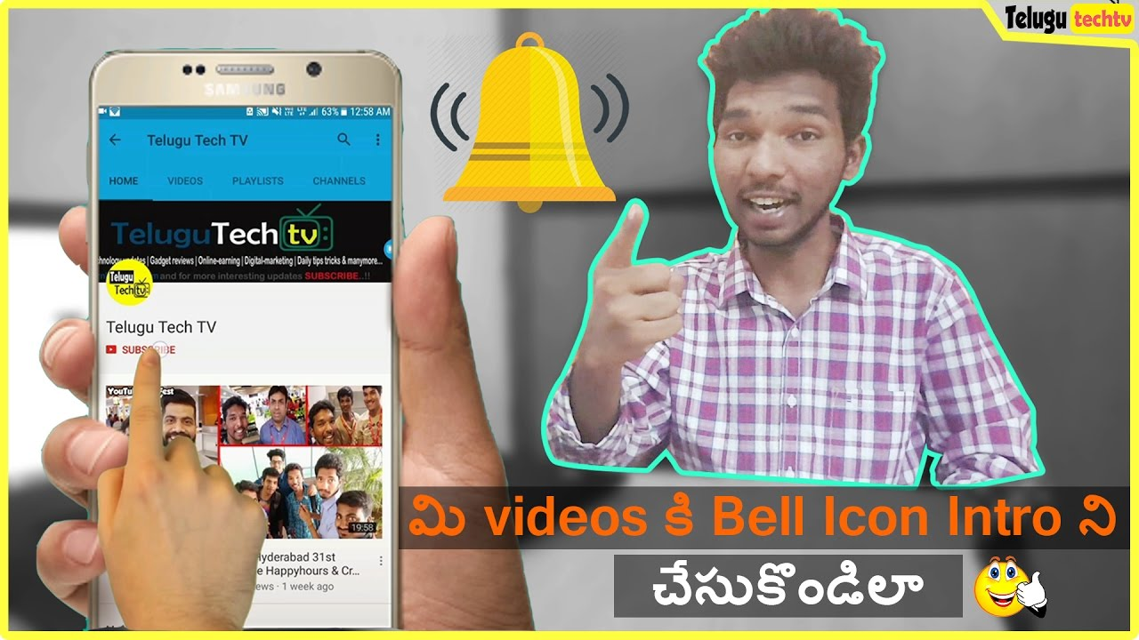 How To Make Bell Icon Intro For Youtube Videos Using Mobile In Telugu