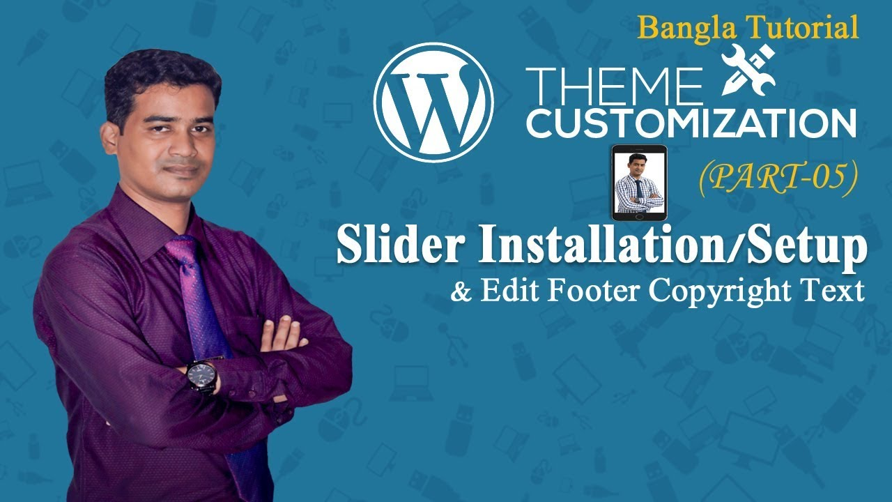 Wordpress Theme Customization Bangla Tutorial (Part -5) Wordpress  Slider Edit Footer Copyright Text