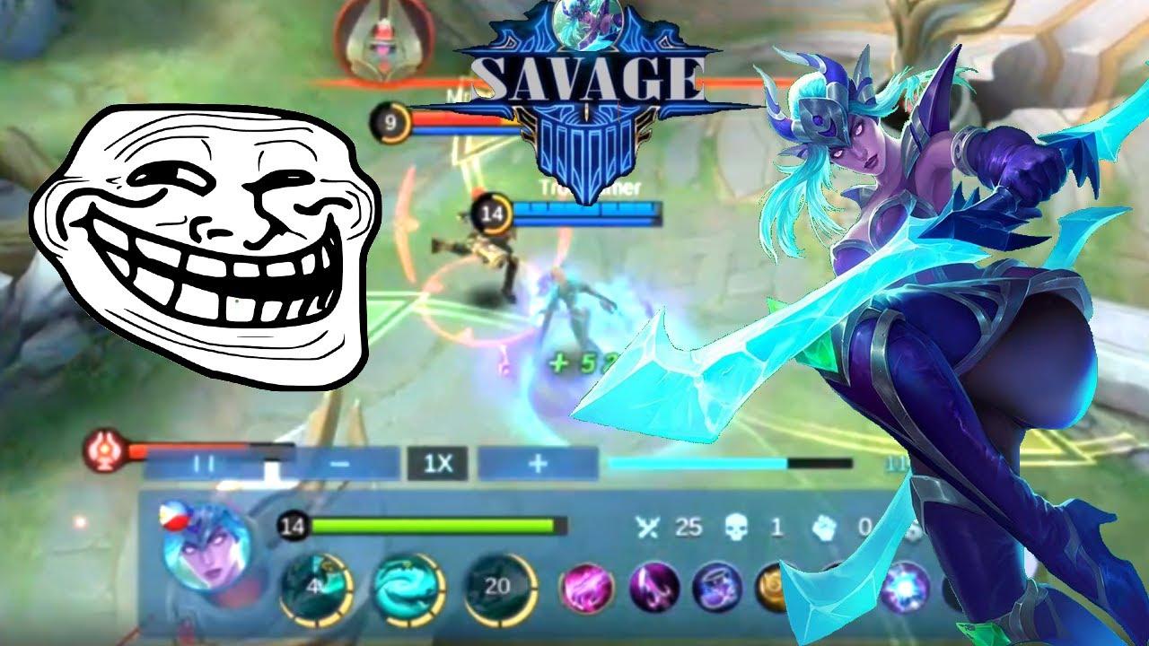1 game 5 Savages Karina ??!! Mobile Legends Bang Bang