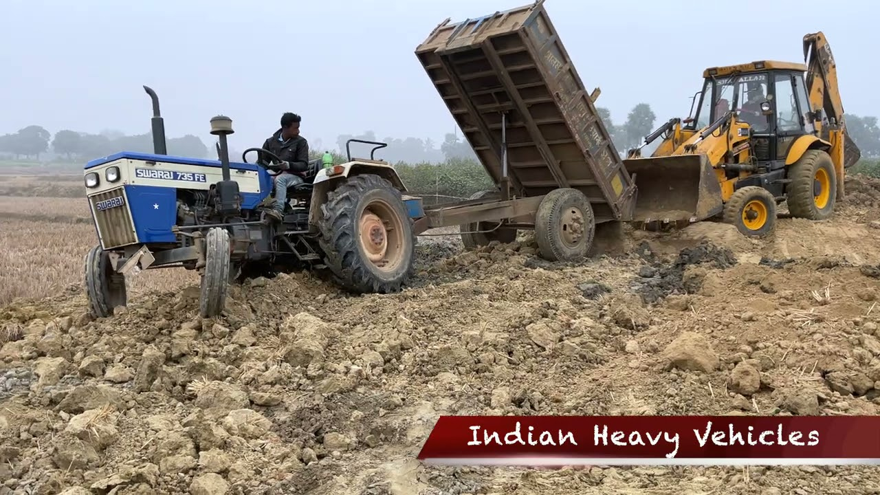 Swaraj 735 FE Tractor Got Stuck Badly In A Heap Of Soil | JCB 3dx Backhoe Loader Comes For Rescue.