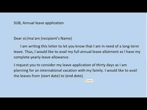 How to write an application letter holiday