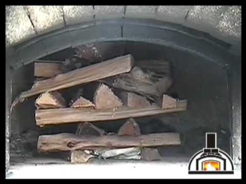Starting a fire in a wood fired oven