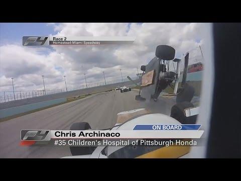 Formula 4 United States Championship 2017. Race 2 Homestead-Miami Speedway. Huge Crash Rolls