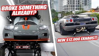 THE KOENIGSEGG CCX ALREADY BROKE! & $12,000 LAMBORGHINI DIABLO EXHAUST! *F1 KREISSIEG*