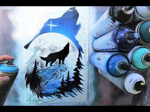 Howling Woolf GLOW IN DARK - SPRAY PAINT ART - by Skech