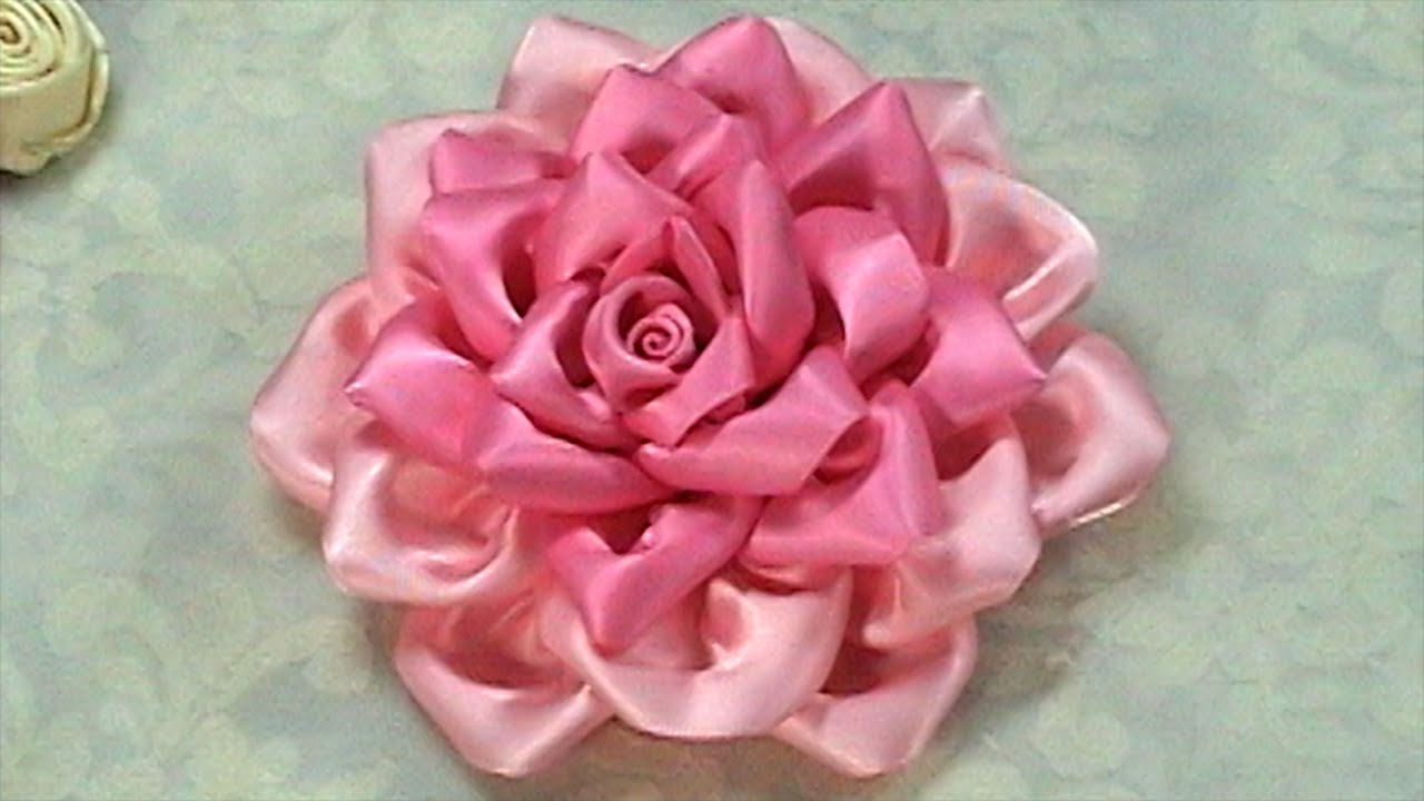 How To Make Kanzashi Flower Ribbon Rosetutorial Diy Youtube