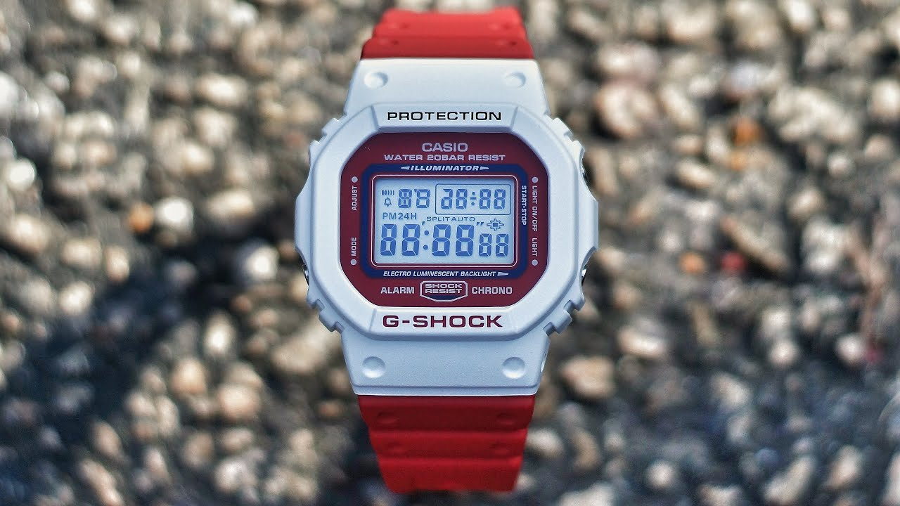 huge selection of c6fc2 a6e21 G-Shock DW-5600TB-4AJF RED & WHITE Throw Back 1983 series watch unboxing &  review