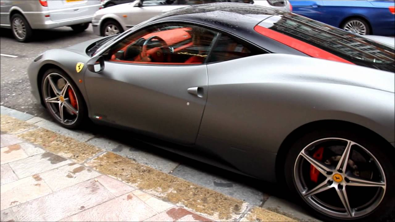 Arab Owned Matte Gray Ferrari 458 Italia Driving In London