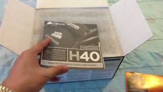unboxing my corsair h40 hydro series liquid cpu cooler