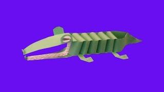 видео как сделать крокодила из бумаги