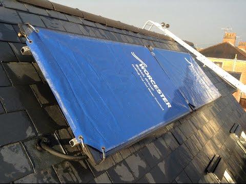 Solar panels on a slate roof