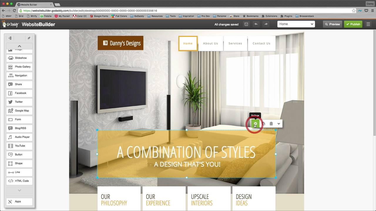 Making a website using GoDaddy's interior design Website