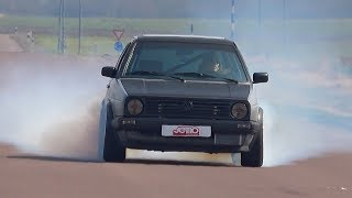 Smoking VW Golf MK2 VR6 Turbo Acceleration Sound